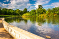 Walkway Along A Pond At Patterson Park, Baltimore, Maryland. Stock Photo - 47463530