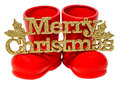Red Santa Claus Boots, Shoes With Merry Christmas Write, Letters Isolated,  White Background. Royalty Free Stock Photos - 47463638