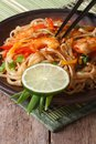 Asian Food: Rice Noodles With Shrimp And Vegetables  Vertical Stock Photos - 47469553