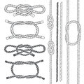 Set Of Marine Rope, Knots. Vector Elements On A White Background Royalty Free Stock Photography - 47485247