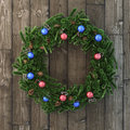 Christmas Decorative Wreath With Balls On Wood Royalty Free Stock Photography - 47489607