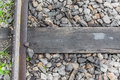 Close Up Of Train Track, Spike, And Wooden Railroad Tie. Stock Photos - 47495063