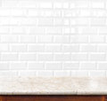 Empty Marble Table And Ceramic Tile Brick Wall In Background. Pr Royalty Free Stock Images - 47495579