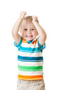 Child Boy With Hands Up Isolated On White Stock Images - 47516984
