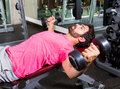 Dumbbell Incline Bench Flyes Opening Arms Man Stock Image - 47521471