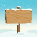 Blank Wooden Sign In The Snow Royalty Free Stock Image - 47523376