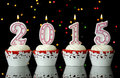 Happy New Year For 2015 Red Velvet Cupcakes Royalty Free Stock Photography - 47523627
