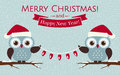 Christmas Card With Cute Owls And A Garland. Vector Illustration Stock Image - 47532181