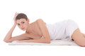 Young Beautiful Sexy Woman Lying On Towel Isolated On White Royalty Free Stock Image - 47543726