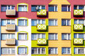 Windows And Colorful Facade Of Residential Building Royalty Free Stock Images - 47557279