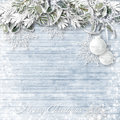 Wooden Background With Snowy Branches And Christmas Decorations Royalty Free Stock Photography - 47581017