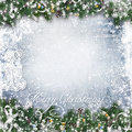Christmas Background With Tree Branches, Snow And Angel Royalty Free Stock Photography - 47581187