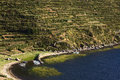 Boats In Bay On Isla Del Sol In Lake Titicaca, Bolivia Royalty Free Stock Image - 47594276