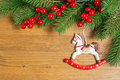 Christmas Decoration Over Wooden Background Royalty Free Stock Photos - 47595068