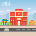 Hospital Building In City Space With Road On Flat Stock Photo - 47607450