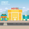 Hotel Building In City Space With Road On Flat Stock Photography - 47608732