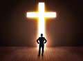 Man Looking At Bright Cross Sign Royalty Free Stock Images - 47615129
