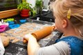 Girl Making Gingerbread Cookies For Christmas Royalty Free Stock Images - 47615779