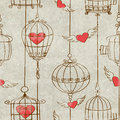 Seamless Pattern With Birds Cage And Hearts Stock Photos - 47616373