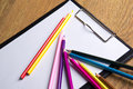 Close Up Of Many Colored Drawing Pencils And Clipboard With Blan Stock Photography - 47616702