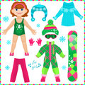 Paper Doll With A Set Of Clothes. Cute Fashion Girl. Royalty Free Stock Photography - 47620627