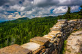 Stone Wall And View Of The Blue Ridge From Devils Courthouse, Ne Stock Images - 47623704