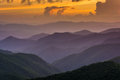 Sunset Over The Appalachian Mountains From Caney Fork Overlook O Royalty Free Stock Image - 47624836