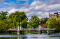Buildings And Bridge Over A Pond In The Boston Public Garden. Royalty Free Stock Image - 47641676