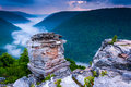 Fog In The Blackwater Canyon At Sunset, Seen From Lindy Point, B Royalty Free Stock Photo - 47644245