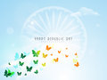 Flying Butterflies With Ashoka Wheel For Indian Republic Day. Royalty Free Stock Image - 47646436
