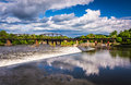 Dam And Train Bridge Over The Delaware River In Easton, Pennsylv Royalty Free Stock Image - 47648136