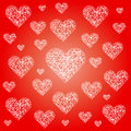 Vector Red Valentine Festive Pattern Background With Irregular White Sketchy Hearts Royalty Free Stock Images - 47648509