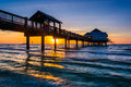 Fishing Pier In The Gulf Of Mexico At Sunset,  Clearwater Beach, Stock Photo - 47650040