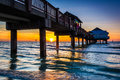 Fishing Pier In The Gulf Of Mexico At Sunset,  Clearwater Beach, Stock Image - 47650271
