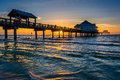 Fishing Pier In The Gulf Of Mexico At Sunset,  Clearwater Beach, Royalty Free Stock Photo - 47650445