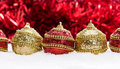 Red And Gold Christmas Balls In Snow With Tinsel And Snowflakes, Christmas Background Royalty Free Stock Images - 47651319