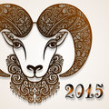 Vector Decorative Sheep With Patterned Horns Royalty Free Stock Photo - 47658385