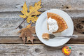 Slice Of Pumpkin Pie On Plate On Old Rustic Wood Surface. Stock Image - 47662041
