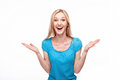 Surprised Woman Face Over White Stock Photography - 47670472