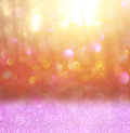 Abstract Photo Of Light Burst Among Trees And Glitter Bokeh Lights. Image Is Blurred And Filtered Stock Photo - 47681830