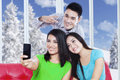 Cheerful People Take Self Photo At Home Stock Image - 47684511