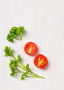 Simple Food  Background, Parsley And Tomato Stock Photography - 47690252