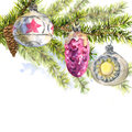 Christmas Watercolor Card With Sprig Of Fir Trees Stock Photo - 47692760