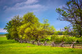Storm Clouds Over Trees And  Fence In Gettysburg, Pennsylvania. Royalty Free Stock Photography - 47696097