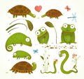 Cartoon Green Reptile Animals Childish Drawing Royalty Free Stock Images - 47699669
