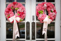 Wedding Flowers On The Front Door Of A Church Stock Image - 4778341
