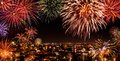Whole City Celebrating With Fireworks Royalty Free Stock Images - 47700659