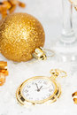 Old Golden Clock Close To Midnight And Christmas Decorations Stock Photo - 47703100