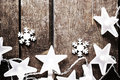 Christmas Rustic Background With Lights, Snowflakes, Stars And F Royalty Free Stock Images - 47709459