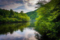 Evening Clouds Reflections In The Lehigh River, At Lehigh Gorge Stock Images - 47716504